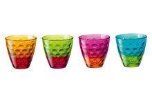 Frisdrankglas Dots Funny multicolor set van 4