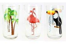Glazen 32 cl set 3 Toekan Flamingo Palm